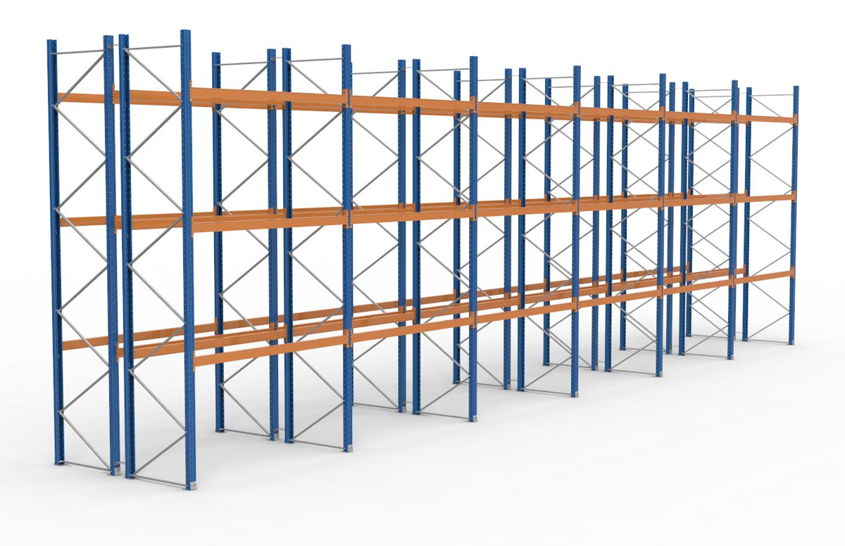 palettenregal 16900 x 5255 mm f r 144 paletten je 1000 kg sieper lagertechnik. Black Bedroom Furniture Sets. Home Design Ideas