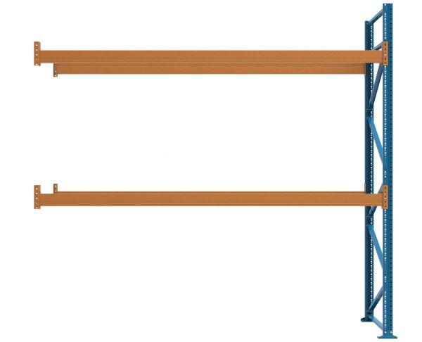 Anbauregal L 3600 T 1100 H 3500 mm, mit 2 Trägerebenen - unmontiert